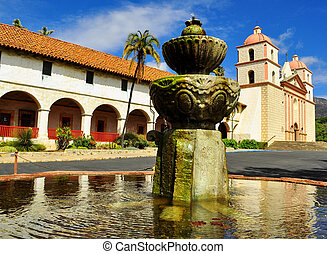 mission Santa Barbara with fountain - mission Santa Barbara...