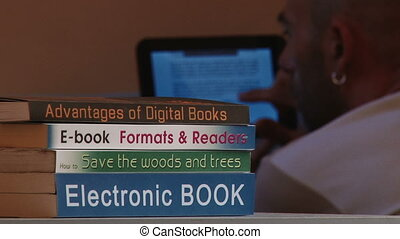 Electronic book, tablet - Electronic book, man reading on...