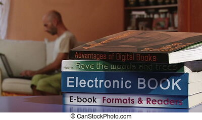 Electronic book, man, homework - Electronic book, man...