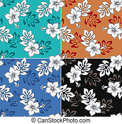 seamless hibiscus flower pattern