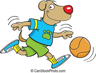 dog playing basketball - Cartoon illustration of a dog...