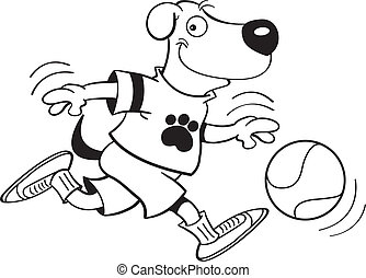 dog playing basketball - Black and white illustration of a...