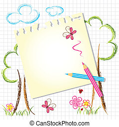 Colorful Color Pencil Drawing Background with Note Paper