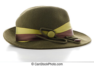 Green vintage hat on white background