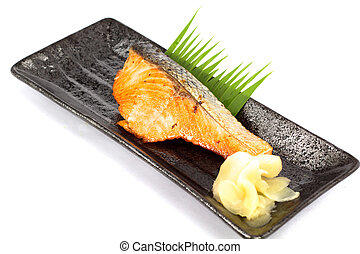 japan food salmon fish gilled - Japanese food style , Salmon...