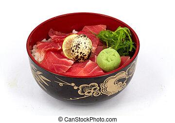 sashimi, arroz