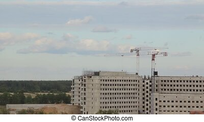 tower cranes building a house time lapse