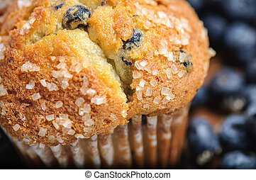 Blueberry Muffin with Blueberries in Background