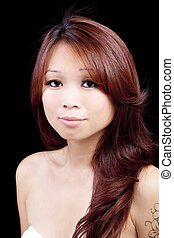 Portrait Young Asian American Woman Black Background