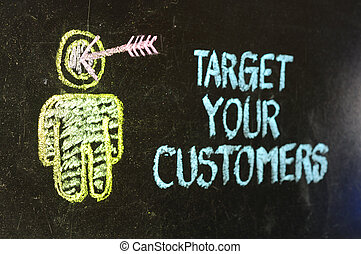 'Target, your, customers', concept, made, white, chalk,...