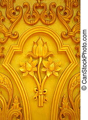 Lotus carvings. - Lotus carvings on the wooden doors of the...