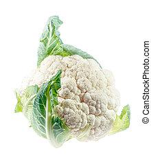 Cauliflower closeup isolated on white background