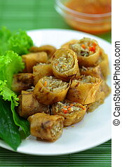 Vietnamese food. - Vietnamese food Miang fried.,Wrapped in a...