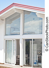 modern house with trasparent walls - Detail of modern house...
