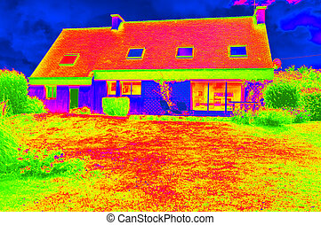 Thermographic picture of a house - Thermorgraphic picture of...