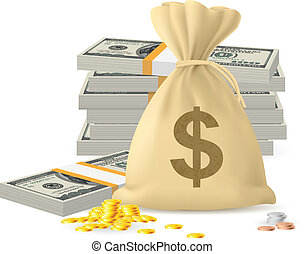Piles of money in the form of Cash and Gold coins, with...