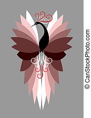 Decorative bird. Vector art.