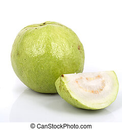 Guavas on isolated white background