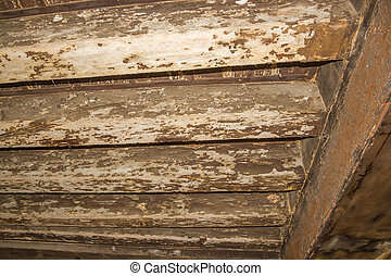 Ancient wooden beams in the Venetian house