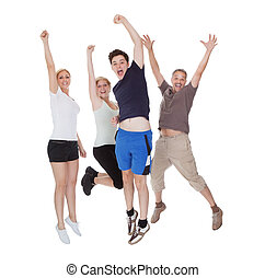 Happy excited family jumping Isolated on white