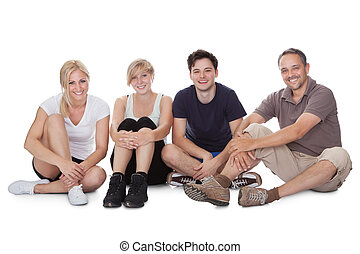 Happy friendly family relaxing - Happy friendly family with...