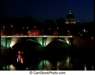 ROME by night lit up bridge - Rome by night. Iluminated...