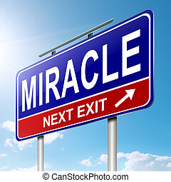 Miracle concept - Illustration depicting a roadsign with a...
