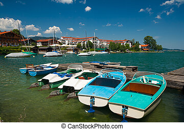 Harbour at lake Tegernsee near the city Rottach-Egern in...