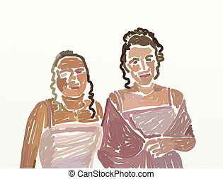 prom night - two teenage girls all dressed up for the prom -...