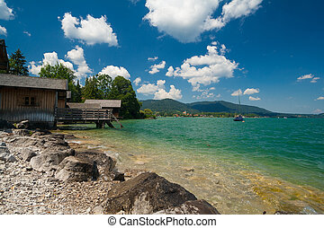 Lake Tegernsee near the city Rottach-Egern in Bavaria -...