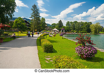 Park at the lake Tegernsee in Bavaria - Germany