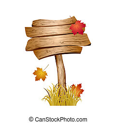 Wooden sign with autumn grass and leaves isolated on white...