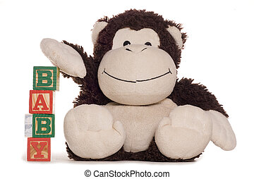 New baby alphabet blocks with soft toy studio cutout