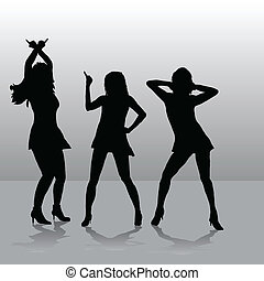 Three girls disco