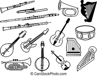 musical instruments - collection of musical instrument icons...