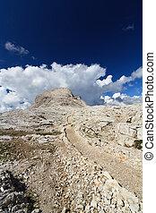 Dolomites plateau and Rosetta peak - plateau in Pale di San...