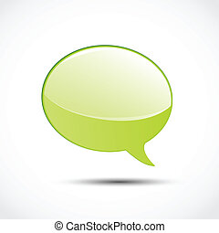 Green glossy word speech