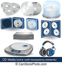 cd media icons - The illustrations represent variety of...