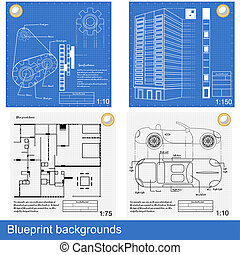 blueprint backgrounds - Four different blueprints: gears, a...