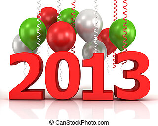 3d shiny ballons and data 2013 - 3d shiny red ballons on...