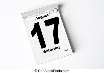 17. August 2013 - calendar sheet