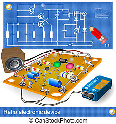 retro electronic device - Illustration of an old electronic...