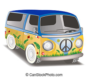 hippie van - Illustration of a hippie van over white...