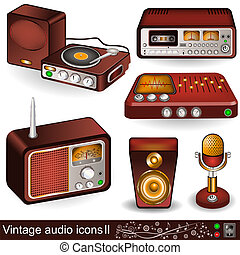 vintage audio icons 2 - Illustration of vintage audio icons,...