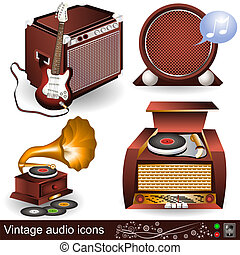 vintage audio icons - Illustration of vintage audio icons,...