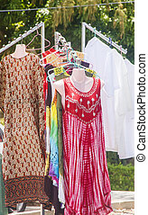 Dresses Hanging in a Caribbean Market