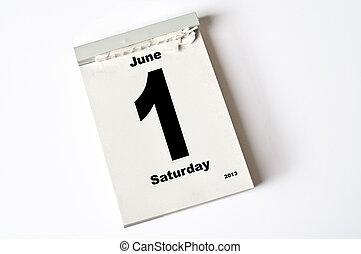 1 June 2013 - calendar sheet