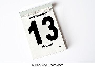 13. September 2013 - calendar sheet