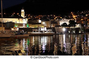Dubrovnik in the night, Croatia