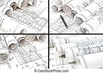 arquitetônico, desenho, desenhos técnicos